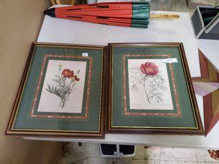 Set of 2 Floral Framed Prints