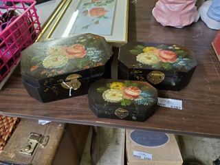 Set of 3 Wooden Jewelry Boxes