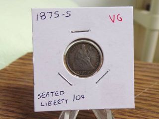 1875 S SEATED lIBERTY DIME VG