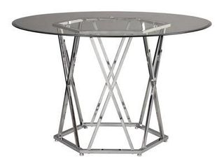 Madanere Round Dining Room Table  Chrome Finish  Signature Design by Ashley