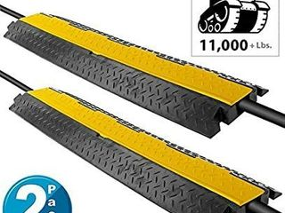 Pyle Cable Protector Cover Ramp   Cord Wire Safety Concealment Track with Flip Open Access lid  Pair