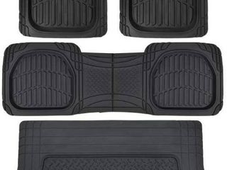Motor Trend 4pc Black Car Floor Mats liners w  Cargo for Auto SUV Trucks   All Weather Heavy Duty Floor Protection