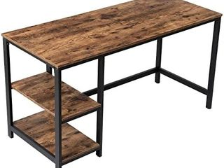 VASAGlE Computer Desk  55 Inch Writing Desk  with 2 Shelves on left or Right  Stable Steel Frame  Easy Assembly  Rustic Brown and Black   actual item might differ in color from stock photo