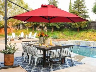 Abba Patio 11 Feet Offset Cantilever Umbrella With Cross Base   Red