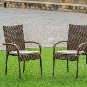 Set Of 2 Chairs Gudhjem Patio Chair With Cushion  Brown Wicker