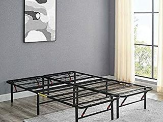 AmazonBasics Foldable Metal Platform Bed Frame for Under Bed Storage   Tools free Assembly  No Box Spring Needed   Queen