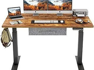 Fezibo Height Adjustable Standing Desk 63  Rustic Brown Top Black Frame