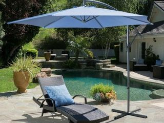 Monterey Outdoor 10 foot Banana Sun Canopy by Christopher Knight Home  Cross Base Included   lavender Blue