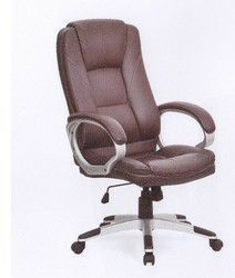 High Back Executive Office Chair with Padded Armrests  Brown