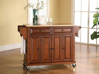Crosley Furniture Cherry Wood Kitchen Cart   No Top