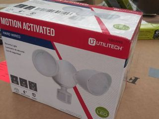 Utilitech 110 Degree 2 Head White lED Motion Activated Flood light with Timer