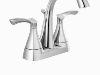 Delta Sandover 2 handle 4 in Centerset Bathroom Faucet With Drain In Chrome