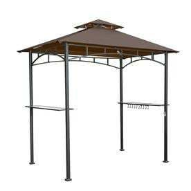 Sunjoy Brown Steel Rectangle Grill Gazebo  Exterior  4 99 ft x 8 ft  Foundation  5 ft x 8 ft  BOX HEAVIlY DAMAGED  HARDWARE AND CONTENTS MAY VARY