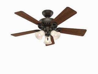 Hunter Ridgefield 44 in Satin Bronze led Indoor Ceiling Fan With light Kit  5 bl