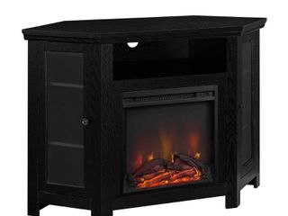 Walker Edison Black Corner Fireplace TV Stand for TVs up to 55