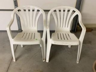PAIR OF WHITE lAWNCHAIRS