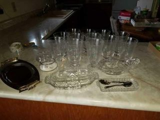 12 ETCHED DRINKING GlASSES  BUTTER DISH  RElISH