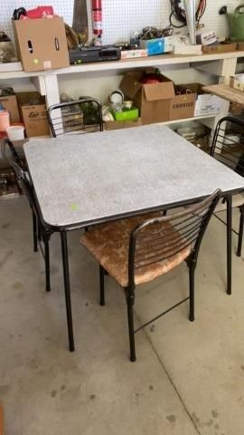 CARD TABlE COSCO BRAND AND 4 COSCO CHAIRS
