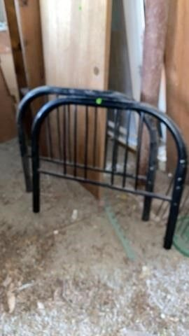 ANTIQUE METAl BED HEADBOARD AND FOOT