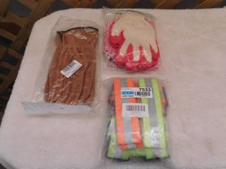 Gloves and 2   pack reflective vests