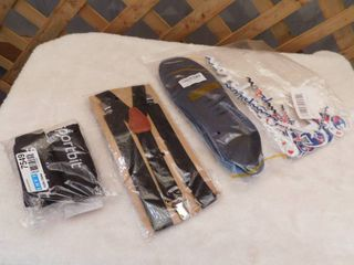 Suspenders w  bow tie  23 pack of champion patches  and a pair of Amitataha arch support insoles women size 12   15