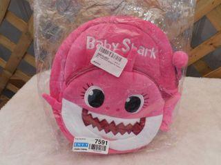 Pink baby shark kids backpack