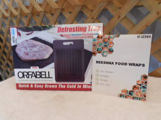 3 pack Beeswax food wraps  Orfabell defrosting tray