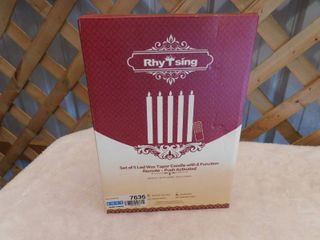 RhyTsing set of 5 lED wax taper candle  remote activated