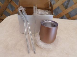 lewis Home stainless steel tumblers color  rose gold with reusable straws and 2 straw cleaning brushes