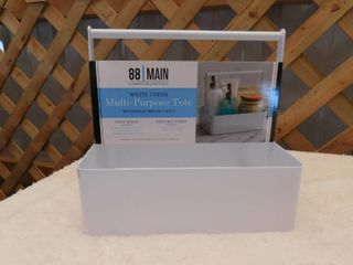 88 Main white finish multi purpose tote modern bathroom caddy minor scratch  see pictures  9in W x 7in D x 8 5in H