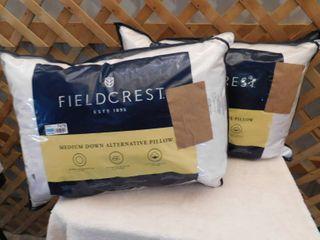 2 Fieldcrest medium down alternative pillows 20inx28in