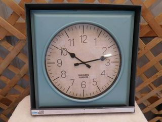 Threshold square teal finish wall clock 20inx20in
