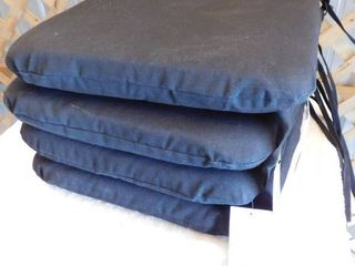 4 Room essentials Outdoor seat cushions color  black 16in l x 16in W x 2 1 2 H