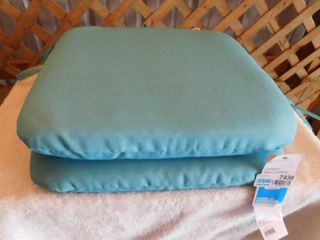 2 Room essentials Outdoor seat cushions color  teal 16in l x 16in W x 2 1 2 H