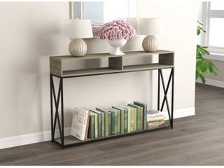 Console Table 47 25l Dark Taupe 2 Open Shelves Black Metal   47  x 9  x 30  Retail 96 99