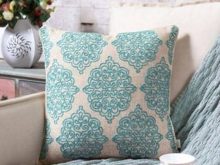 Charlotte Damask linen Stitch 18  Decorative Throw Pillows   Set of 2
