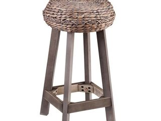 Two Belize Grey Washed Wicker Counter Stools