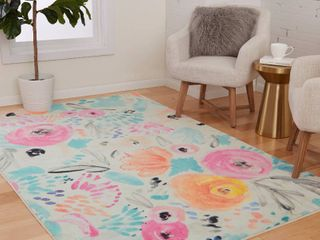 Prismatic Watercolor Floral Area Rug