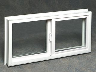 Vinyl Basement Slider Window  BROKEN GlASS  White