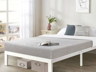 Twin   Bed Frame Steel Slat Platform   White