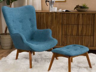 Hariata Mid Century Modern Wingback Fabric Chair and Ottoman Set