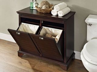Bathroom linen Hamper in Espresso