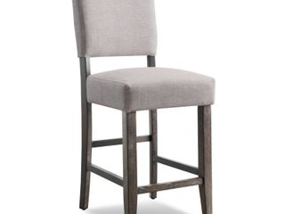 Two Heather Grey Upholstered Counter Height Stools