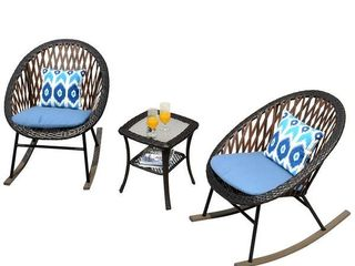 Gorgeous 3 Piece Patio Rocking Bistro Set