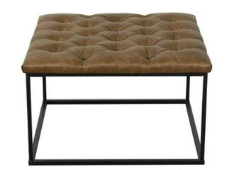 HomePop Draper Ottoman with Button Tufting   light Brown Faux leather  Retail 152 49