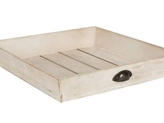 Kate and laurel Woodmont Distressed Wood Square Ottoman Tray