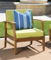 Perla Outdoor Chair Acacia Woodwith Cushion by Christopher Knight Home