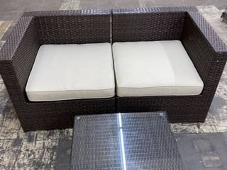 Corvus Trey Outdoor Wicker loveseat with Glass Top