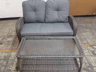Wicker loveseat and Coffee Table Set