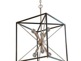 Sadler 6 light Industrial Square Frame Sputnik Pendant   Silver and Black  Retail 221 26